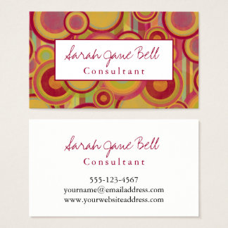 Colorful, Abstract Circles & Stripes with Red Business Card