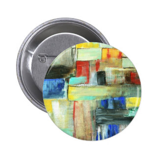 Colorful Abstract Cityscape Original Art Painting Button
