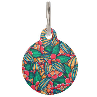 Colorful abstract Cocoa beans illustrated pattern Pet ID Tag