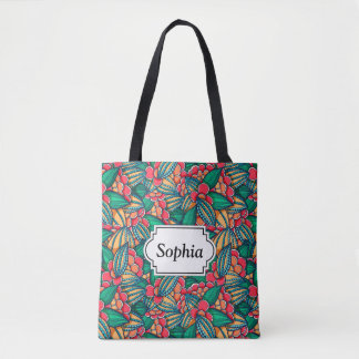 Colorful abstract Cocoa beans illustrated pattern Tote Bag