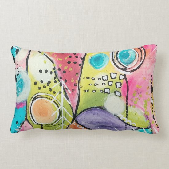 Colorful Abstract Color Block Blue Yellow Doodles Lumbar Pillow