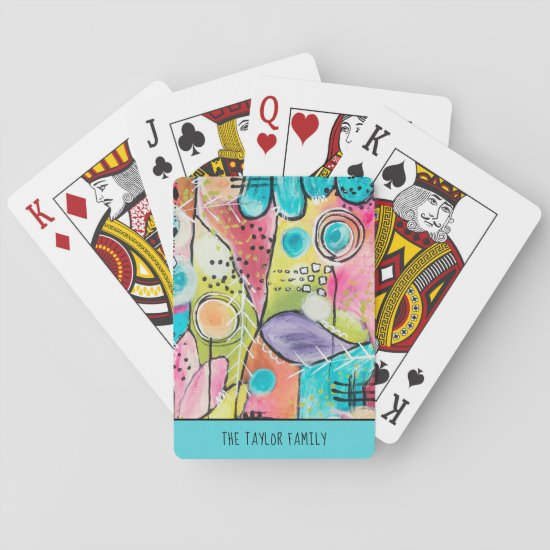 Colorful Abstract Colorblock Artsy Fun Family Name Playing Cards