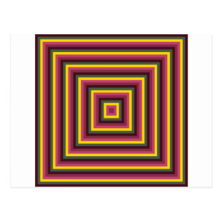 Colorful Abstract Concentric Square  Pattern Postcard