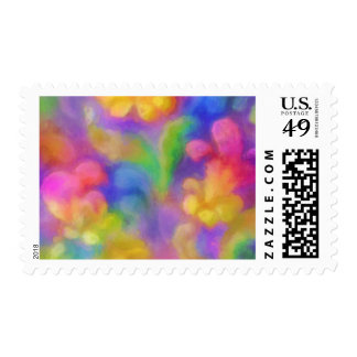 Colorful Abstract Damask Postage