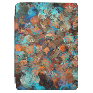 Colorful Abstract Design, Blues And Brown Circles iPad Air Cover