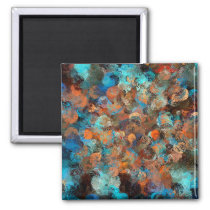 Colorful Abstract Design, Blues And Brown Circles Magnet