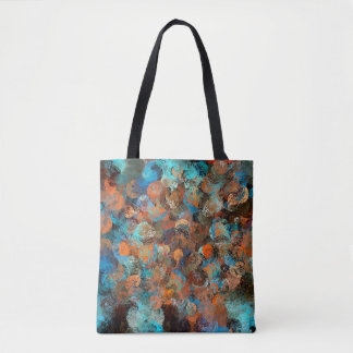 Colorful Abstract Design, Blues And Brown Circles Tote Bag