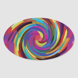 Colorful Abstract Design Bright Colors Swirl Oval Sticker