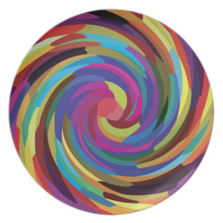 Colorful Abstract Design Bright Colors Swirl Plate