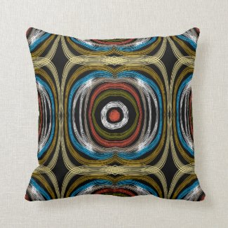 Colorful Abstract Design On Black Pillow