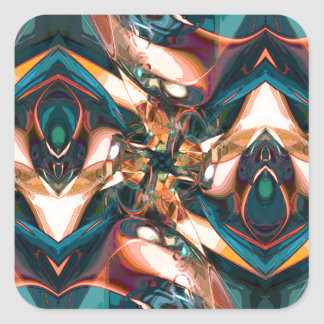 Colorful Abstract Design Square Stickers