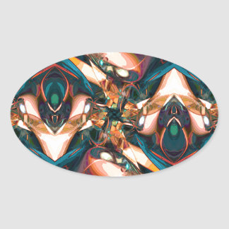 Colorful Abstract Design Oval Stickers