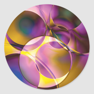Colorful abstract  designs classic round sticker