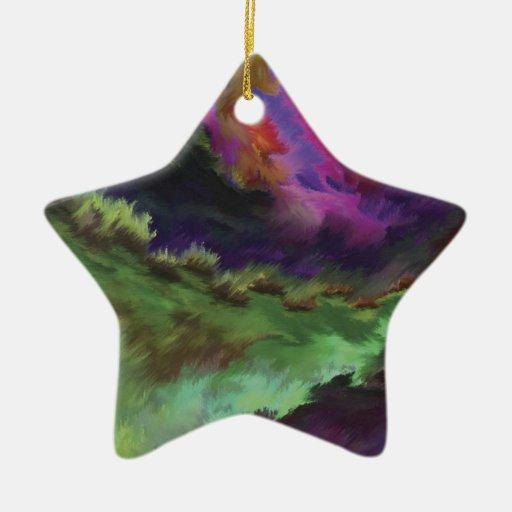 Colorful Abstract Digital Painting Adorno Navideño De Cerámica En Forma De Estrella