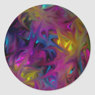 Colorful Abstract Effect Classic Round Sticker
