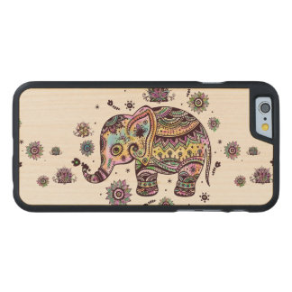 Colorful Abstract Elephant Illustration Carved Maple iPhone 6 Slim Case