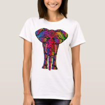 Colorful Abstract Elephant Women's Basic T-Shirt