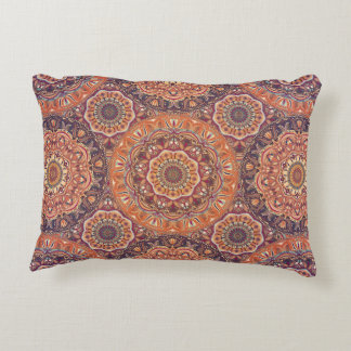 Colorful abstract ethnic floral mandala pattern accent pillow