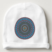 Colorful abstract ethnic floral mandala pattern baby beanie