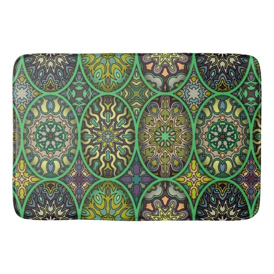 Colorful abstract ethnic floral mandala pattern bathroom mat