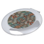 Colorful abstract ethnic floral mandala pattern compact mirror