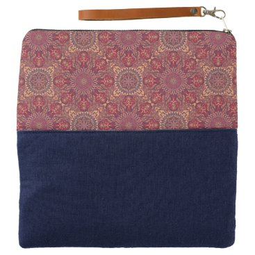 Aztec Themed Colorful abstract ethnic floral mandala pattern de clutch