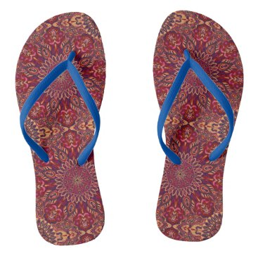 Aztec Themed Colorful abstract ethnic floral mandala pattern de flip flops