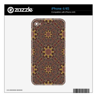 Colorful abstract ethnic floral mandala pattern de iPhone 4S skins