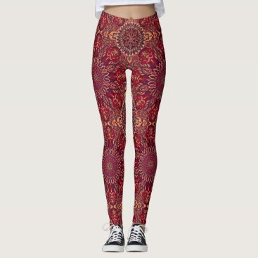 Aztec Themed Colorful abstract ethnic floral mandala pattern de leggings
