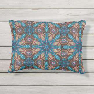 Colorful abstract ethnic floral mandala pattern de outdoor pillow