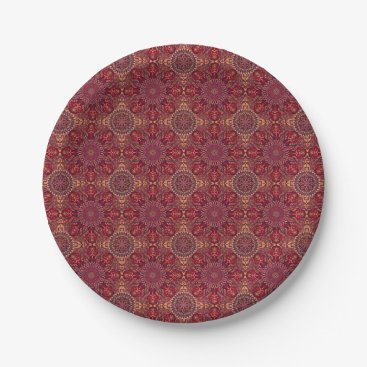 Aztec Themed Colorful abstract ethnic floral mandala pattern de paper plate