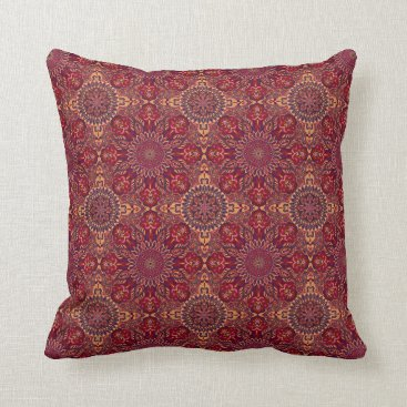 Colorful abstract ethnic floral mandala pattern de throw pillow