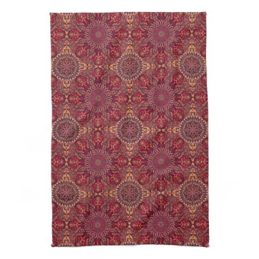 Aztec Themed Colorful abstract ethnic floral mandala pattern de towel