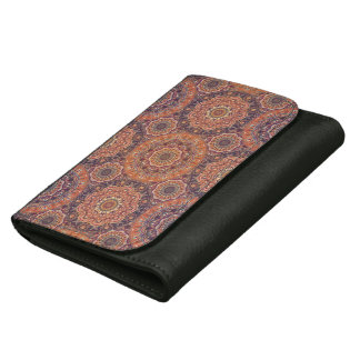 Colorful abstract ethnic floral mandala pattern leather wallet for women