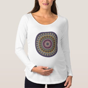 Aztec Themed Colorful abstract ethnic floral mandala pattern maternity T-Shirt