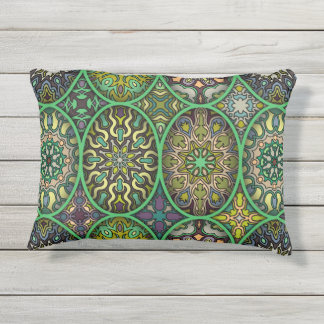 Colorful abstract ethnic floral mandala pattern outdoor pillow