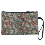 Colorful abstract ethnic floral mandala pattern suede wristlet wallet