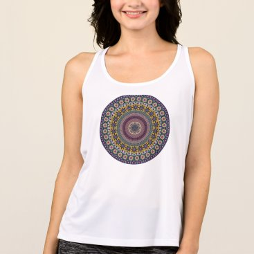 Aztec Themed Colorful abstract ethnic floral mandala pattern tank top