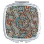 Colorful abstract ethnic floral mandala pattern vanity mirror