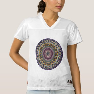 Aztec Themed Colorful abstract ethnic floral mandala pattern women's football jersey