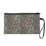 Colorful abstract ethnic floral mandala pattern wristlet