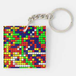 Colorful Abstract Fabric pattern Double-Sided Square Acrylic Keychain