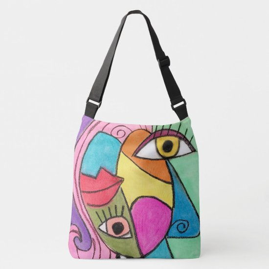 Colorful Abstract Face Colorblock Fun Modern Artsy Crossbody Bag
