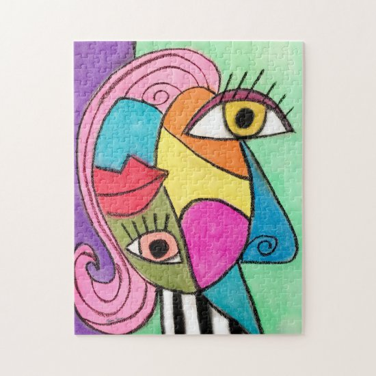 Colorful Abstract Face Cubism Fun Whimsical Art Jigsaw Puzzle