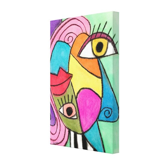 Colorful Abstract Face Cubism Red Purple Blue Cool Canvas Print