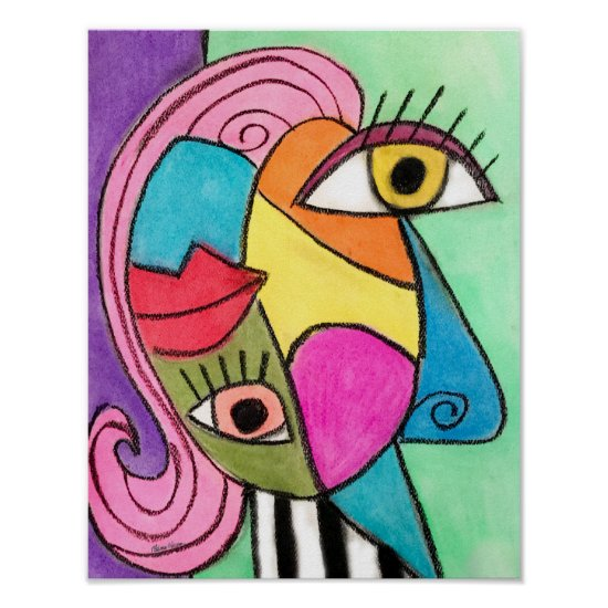 Colorful Abstract Face Cubism Red Purple Blue Cool Poster