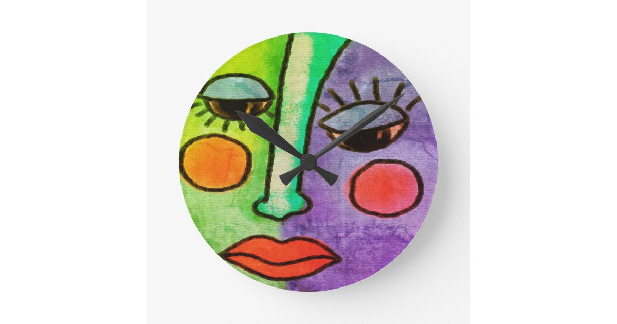 Colorful Abstract Face Painting Round Clock Zazzle Com
