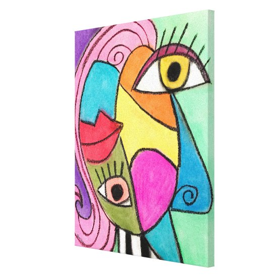 Colorful Abstract Face Red Purple Yellow Cubism Canvas Print