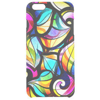 Colorful Abstract Faux Stained Glass Look Clear iPhone 6 Plus Case
