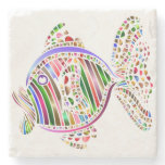Colorful Abstract Fish Mosaic Art Stone Coaster